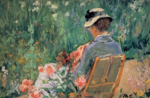 Lydia seated in the garden with a dog in her lap, Mary Cassatt